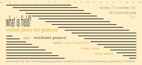 Flyer for 'What is Field? Michael Pisaro and the Poetics of Geo-sound'